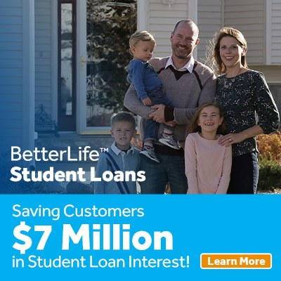 BetterLife Student Loan program. Family in front yard.